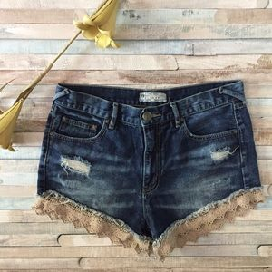 Free People Distressed Lace Jean Shorts, Size 28